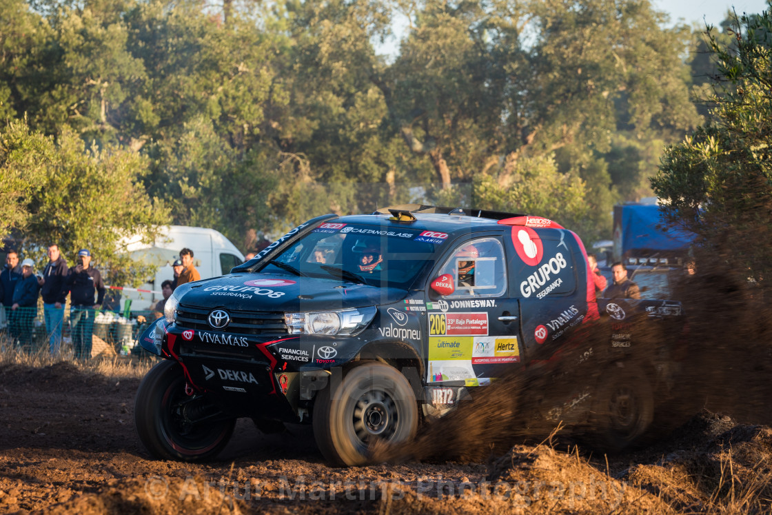 """A Toyota Hilux off-road car during the Baja TT Portalegre 500 2019"" stock image"