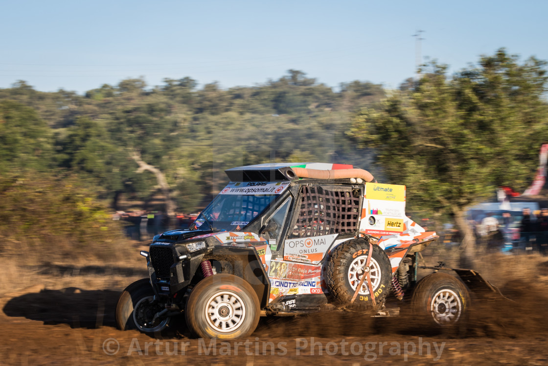 """A Polaris RZR 1000 Turbo off-road car during the Baja TT Portalegre 500 2019"" stock image"