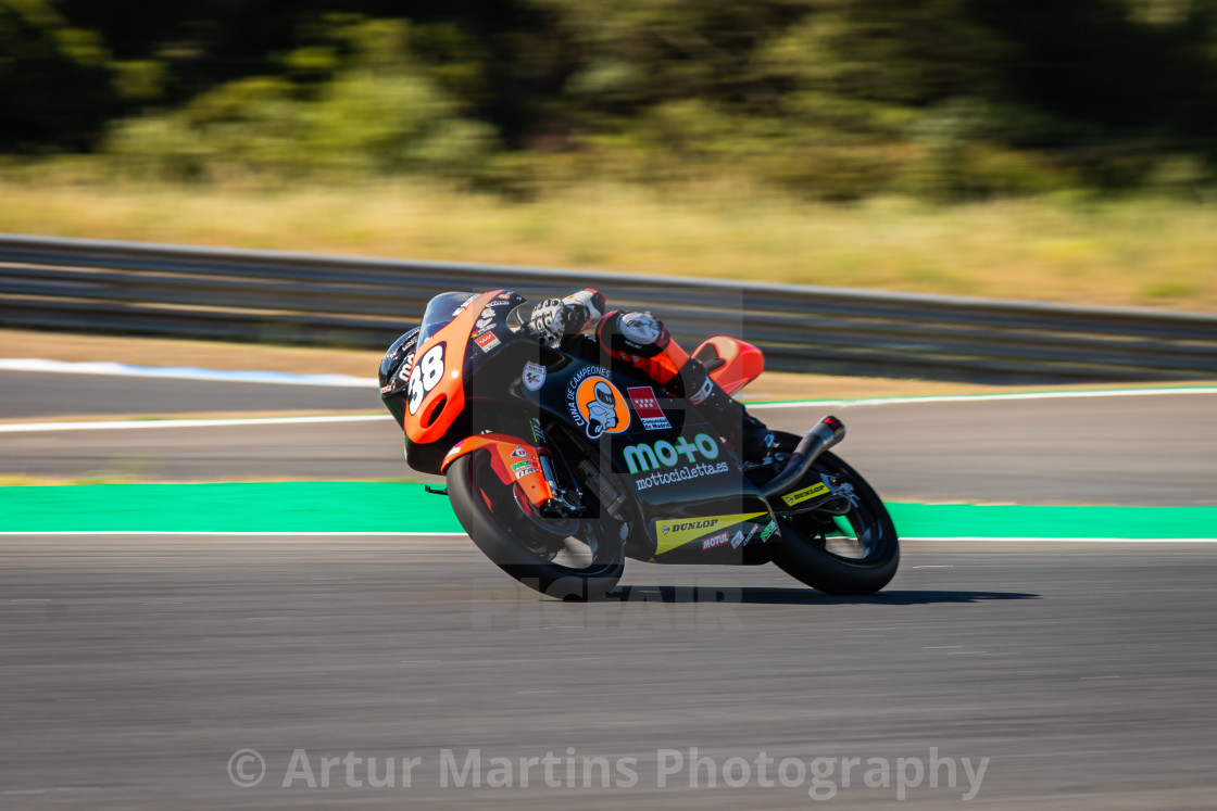"""Rider David Salvador during a free practice of FIM CEV Repsol Estoril 2020"" stock image"