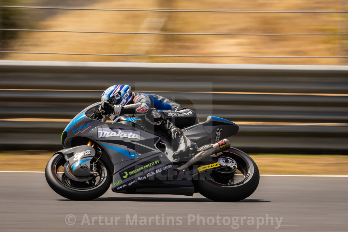 """Rider Niki Tuuli during a race of FIM CEV Repsol Estoril 2020"" stock image"