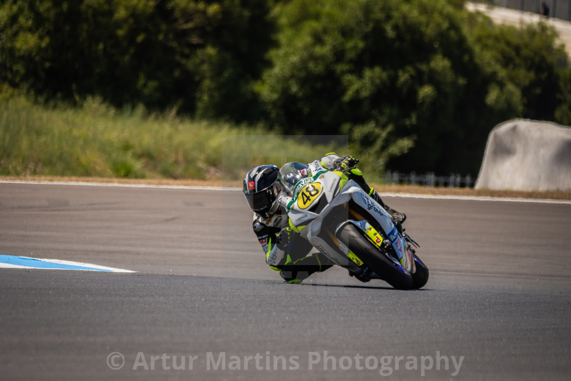 """Rider Joan Díaz during a free practice of FIM CEV Repsol Estoril 2020"" stock image"