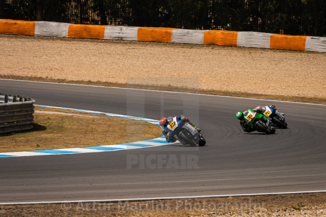 """Rider Mattia Rato during a race of FIM CEV Repsol Estoril 2020"" stock image"