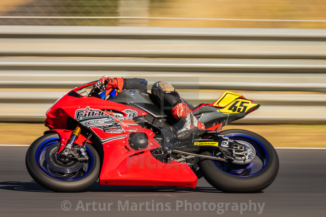"""Rider Leon Orgis during a free practice of FIM CEV Repsol Estoril 2020"" stock image"