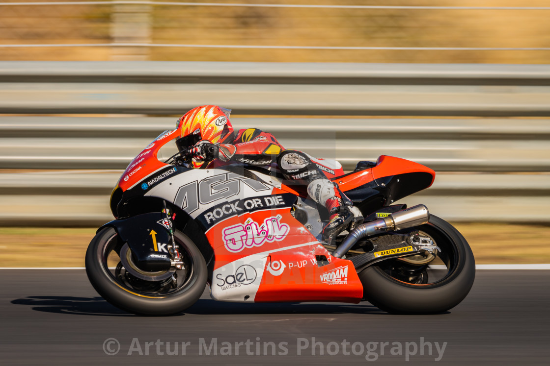 """Rider Taiga Hada during a free practice of FIM CEV Repsol Estoril 2020"" stock image"