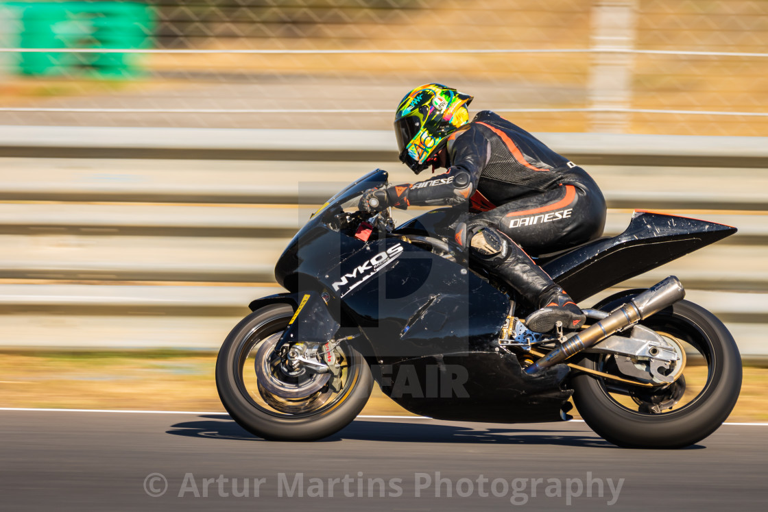 """Rider Connor Funk during a free practice of FIM CEV Repsol Estoril 2020"" stock image"
