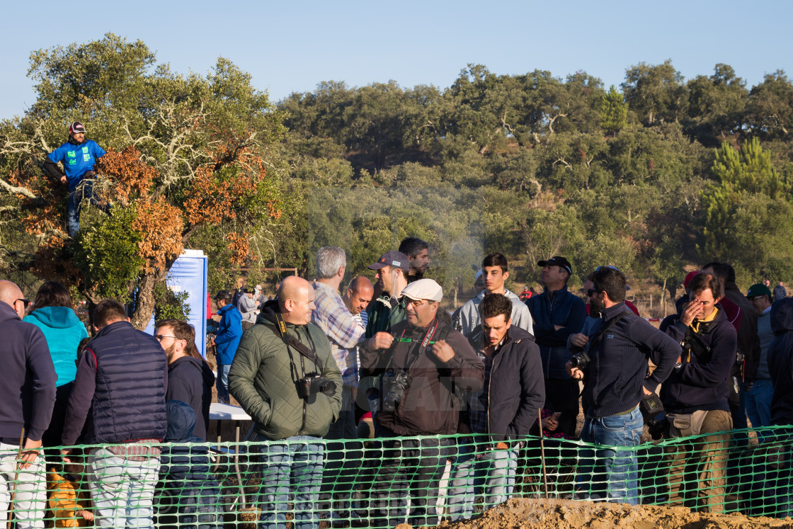 """Crowd watching the off-road race during the Baja TT Portalegre 500 2019"" stock image"