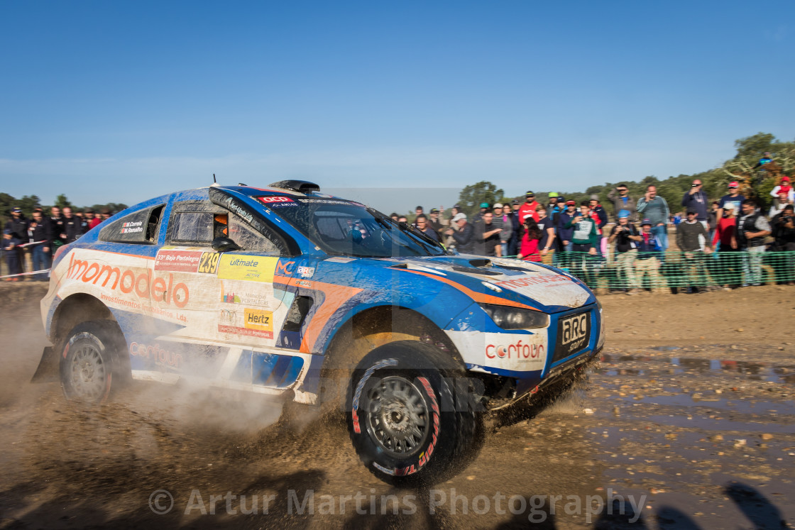 """An off-road car Mitsubishi HRX Ford during the Baja TT Portalegre 500 2019"" stock image"