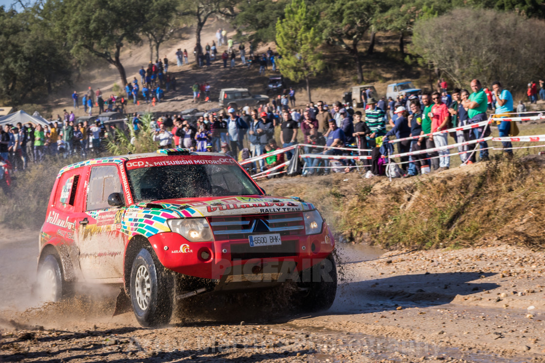 """An off-road car Mitsubishi Montero during the Baja TT Portalegre 500 2019"" stock image"