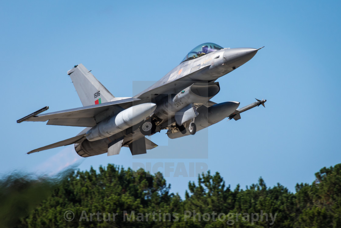"""Portuguese Air Force F-16 taking off"" stock image"