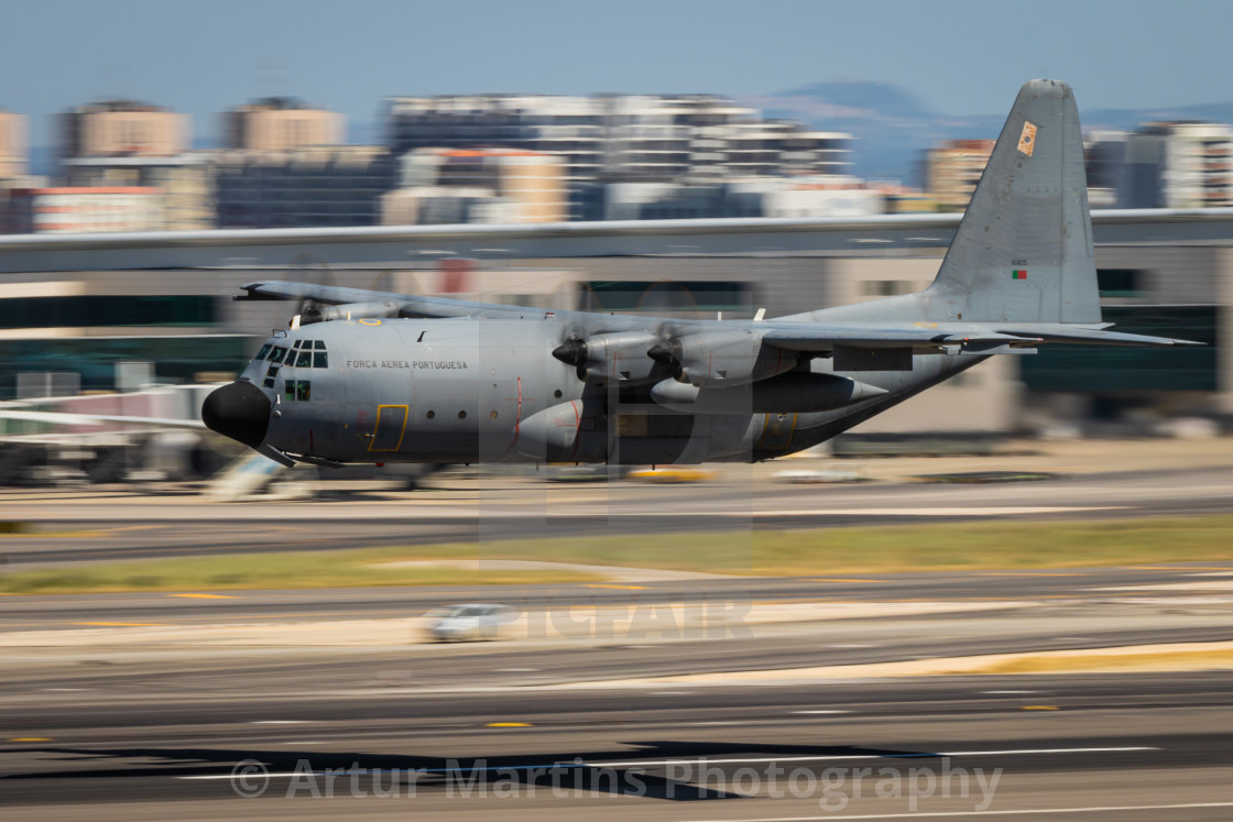 """C-130H Hercules transport aircraft of the Portuguese Air Force"" stock image"