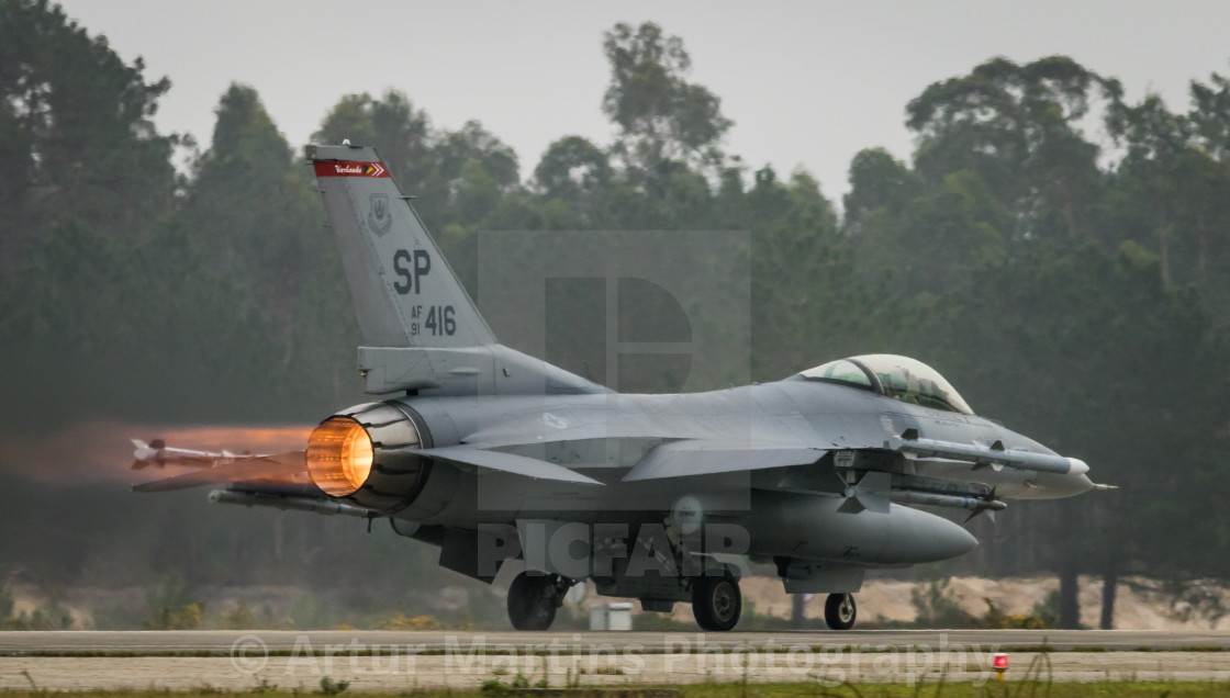 """F-16CJ Fighting Falcon of the USAF about to take off from Monte Real"" stock image"