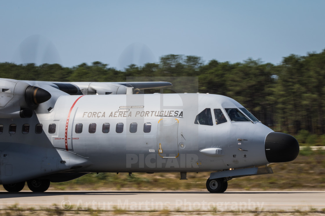 """Close-up view of a Portuguese Air Force CASA C-295 transport aircraft"" stock image"
