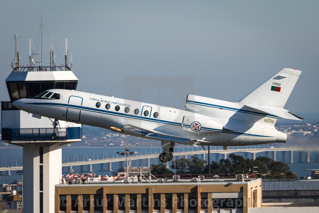 """Portuguese Air Force Falcon 50 taking off at Lisbon Airport"" stock image"