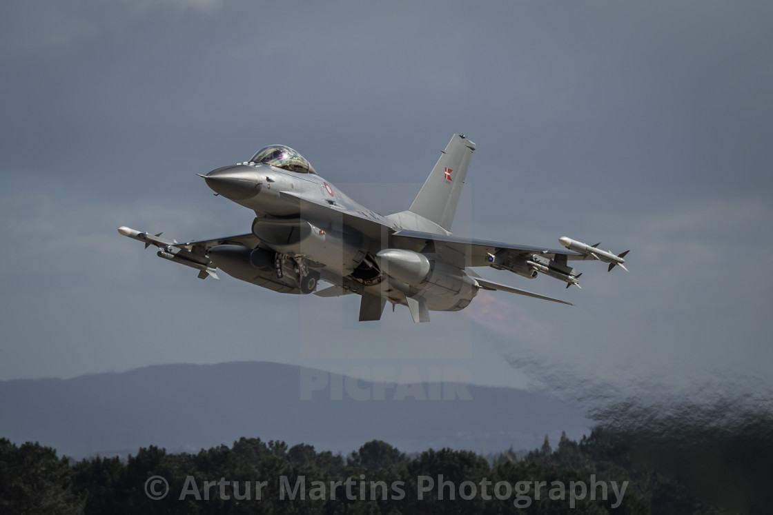 """F-16AM Fighting Falcon of the Royal Danish Air Force taking off"" stock image"