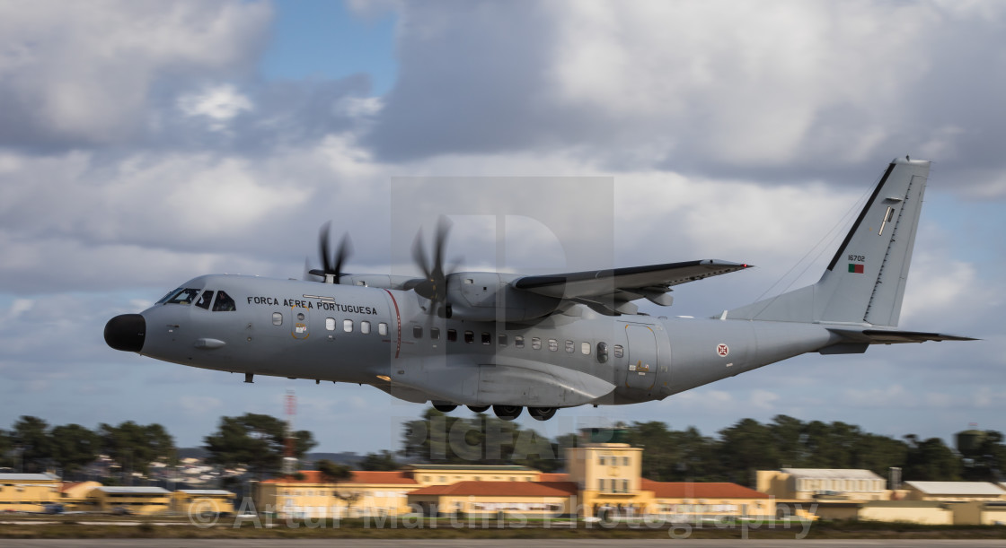 A C-295M transport aircraft of the Portuguese Air Force takes off