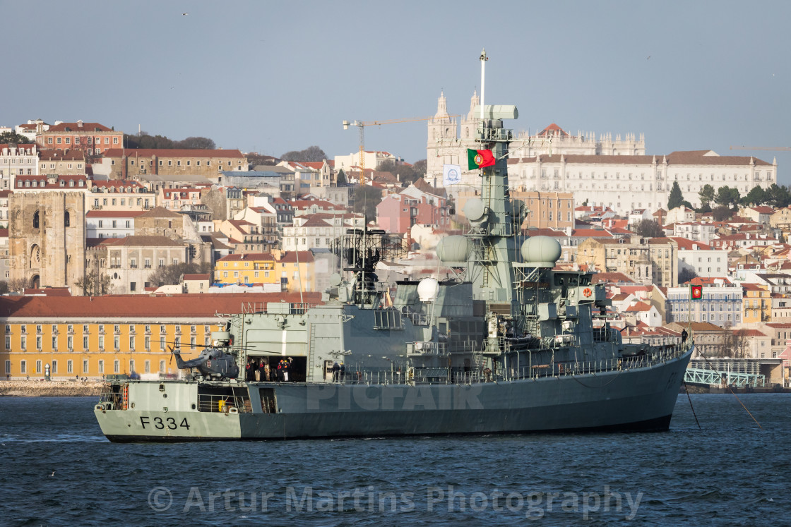 """Frigate NRP D. Francisco de Almeida of the Portuguese Navy"" stock image"