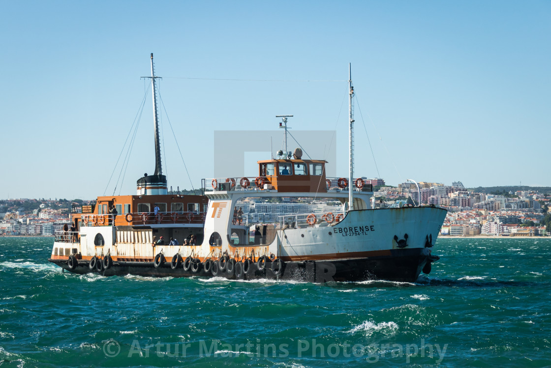 """Portuguese ferryboat Eborense heading for the pier"" stock image"