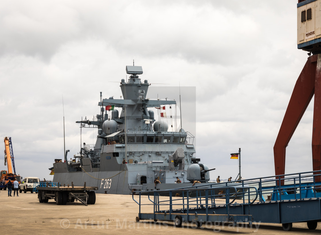 """Corvette Oldenburg of the German Navy moored at the pier inLisbon"" stock image"