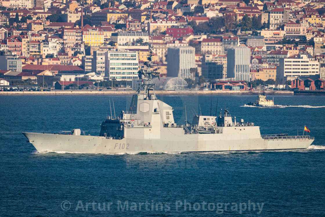 """Frigate Almirante Juan de Borbón of the Spanish Navy on Tagus River"" stock image"