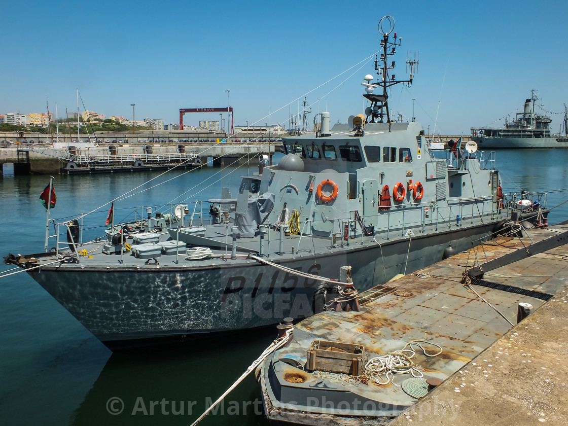 """Inspection boat NRP Oríon of the Portuguese Navy"" stock image"