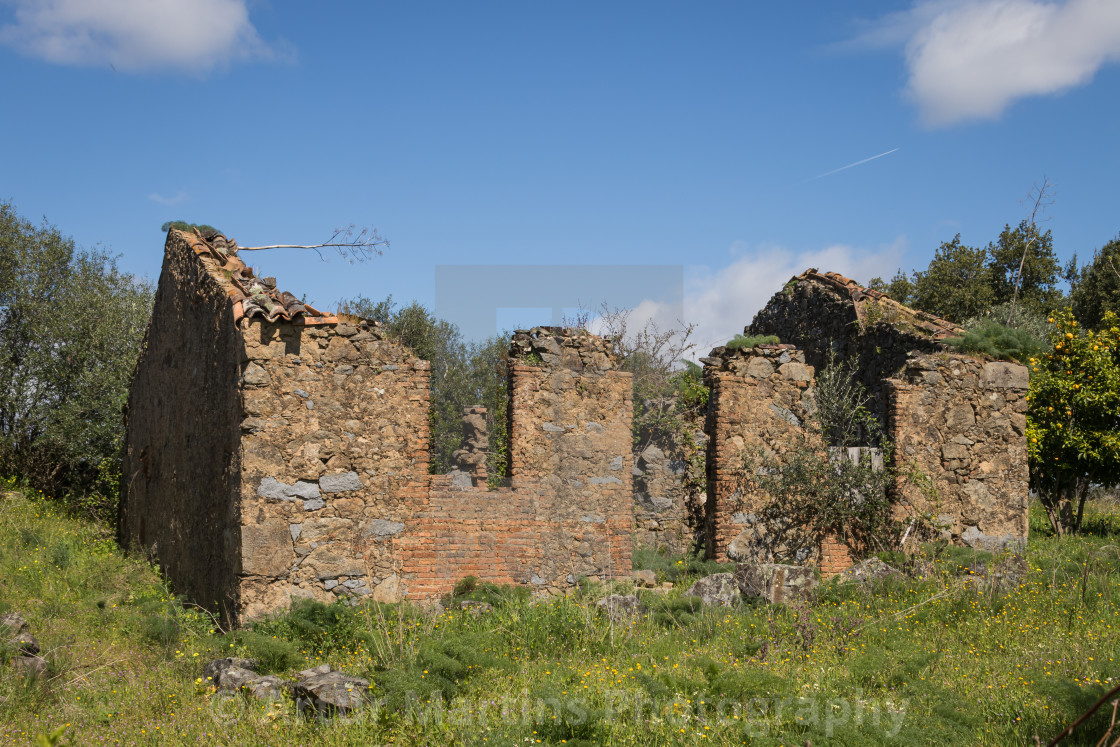 """Small house in ruins at Amieira do Tejo"" stock image"
