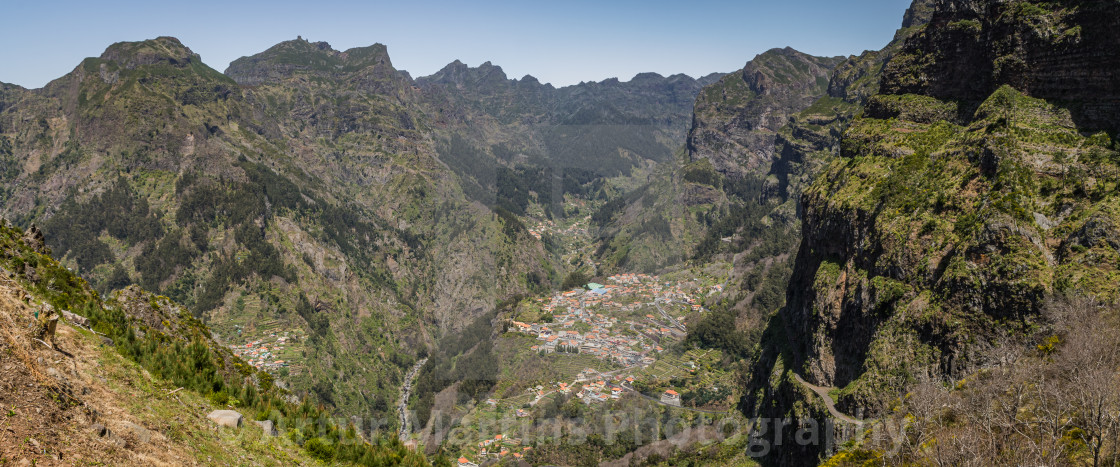 """Village of Curral das Freiras and surrounding mountains"" stock image"