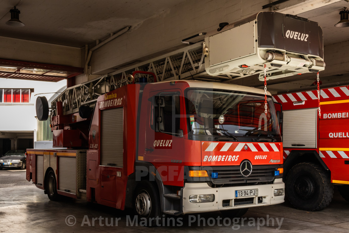 """Mercedes-Benz Atego turntable ladder truck of Queluz Voluntary Fire Brigade"" stock image"