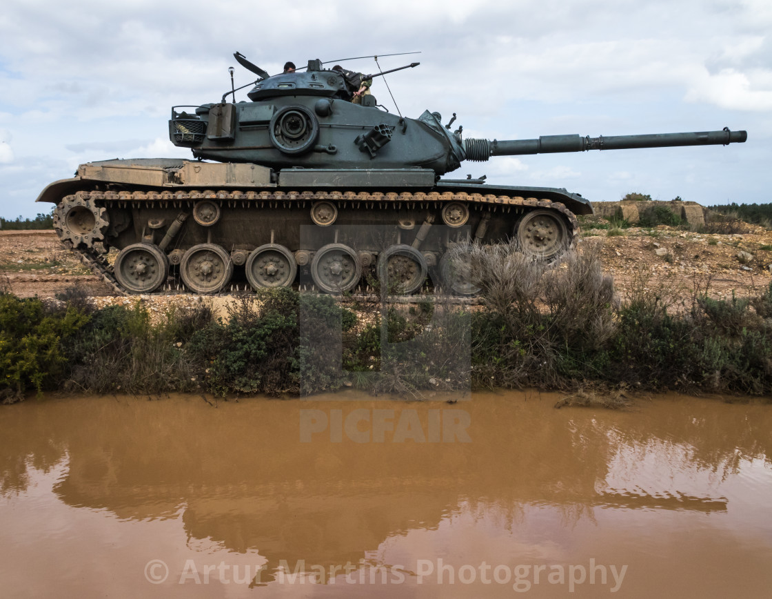"""M60A3 TTS main battle tank of the Portuguese Army"" stock image"