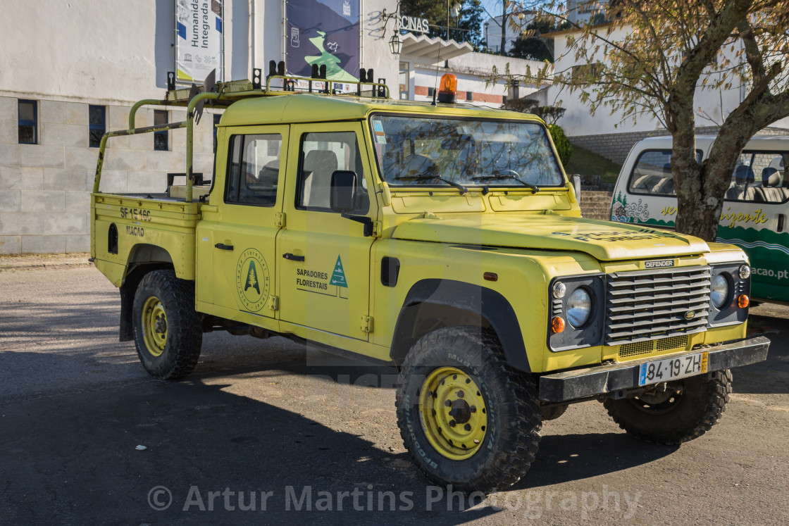 """Land Rover Defender of the Portuguese Forest Firefighters"" stock image"