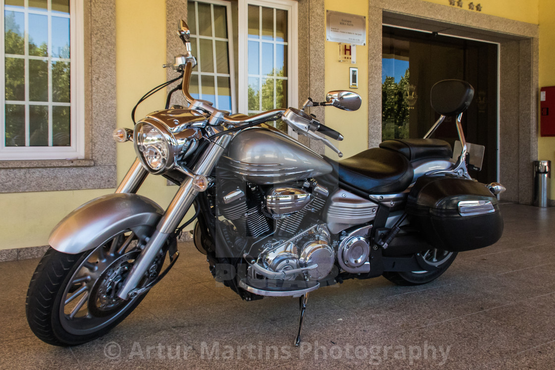 """Parked Yamaha VX1800 cruiser motorcycle"" stock image"