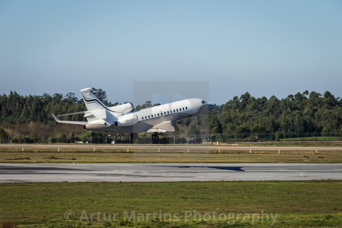 """Dassault Facon 7X business jet taking off"" stock image"