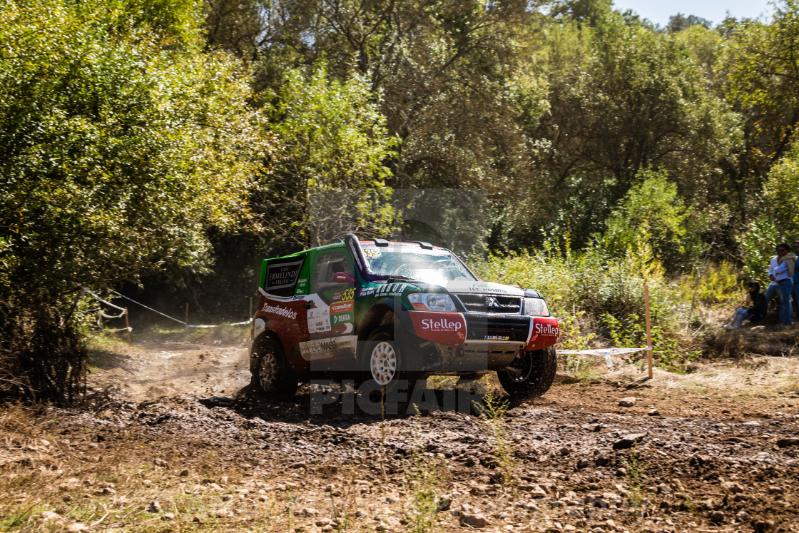 """A Mitsubishi Pajero off-road race car projects mud"" stock image"