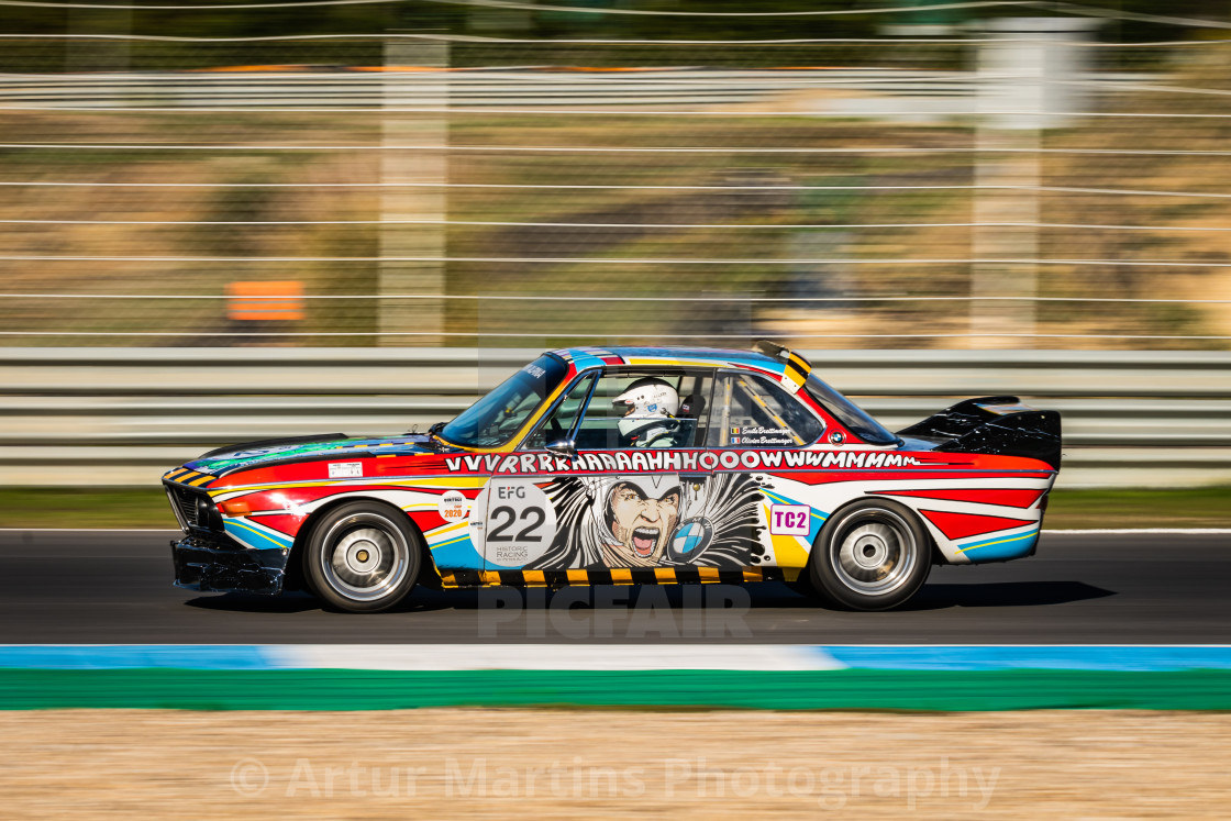 A BMW classic race car during Estoril Classics 2020