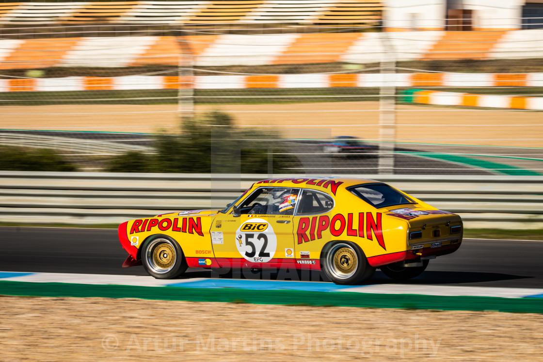 """A Ford Capri classic race car during Estoril Classics 2020"" stock image"