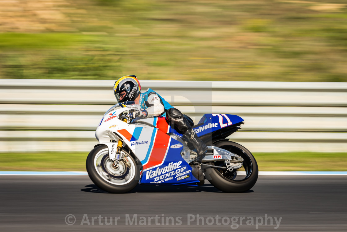 """A Yamaha classic motorbike during Estoril Classics 2020"" stock image"