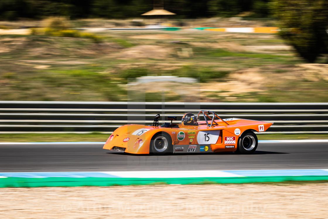 """A Chevron classic race car during Estoril Classics 2020"" stock image"