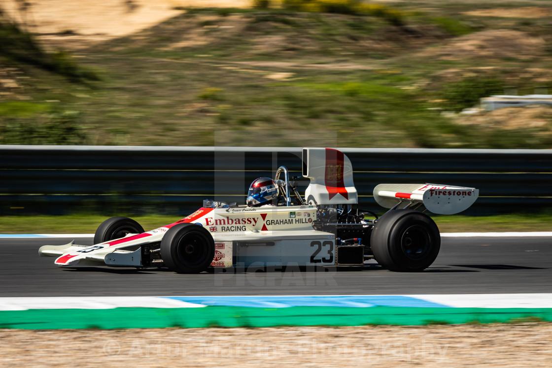 """An Embassy classic F1 race car during Estoril Classics 2020"" stock image"