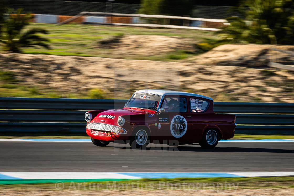 """A Ford Anglia classic race car during Estoril Classics 2020"" stock image"