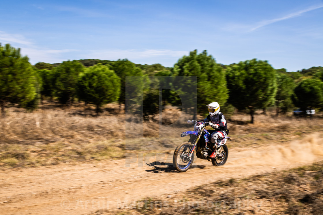 """Motorcycle rider at 32nd Off-Road Baja Capital of Wines of Portugal"" stock image"