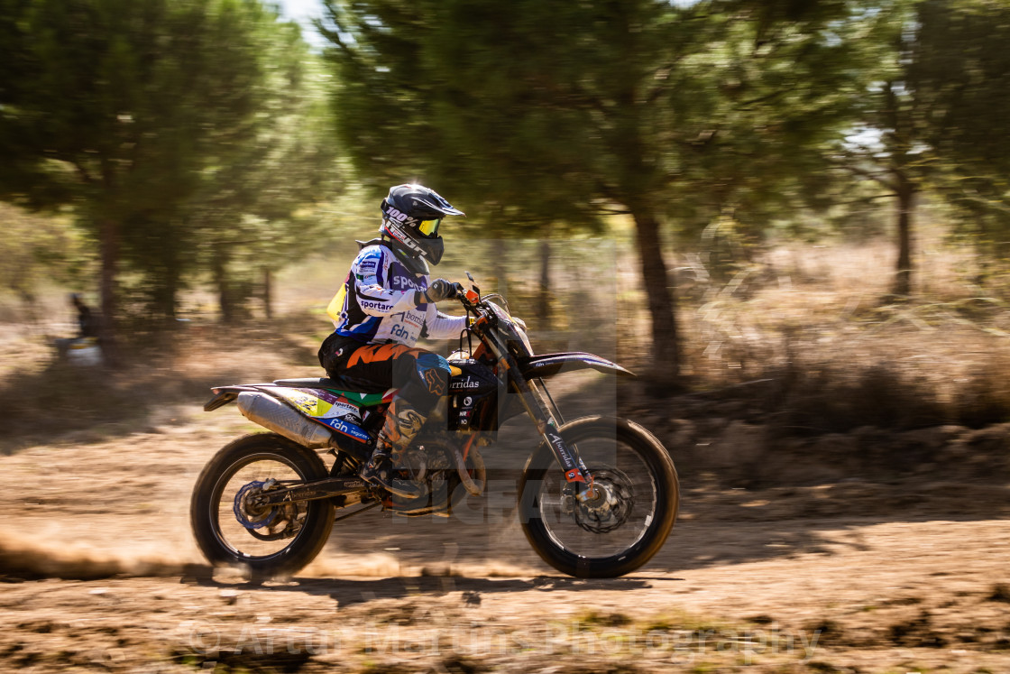 """""""Motorcycle rider at 32nd Off-Road Baja Capital of Wines of Portugal"""" stock image"""