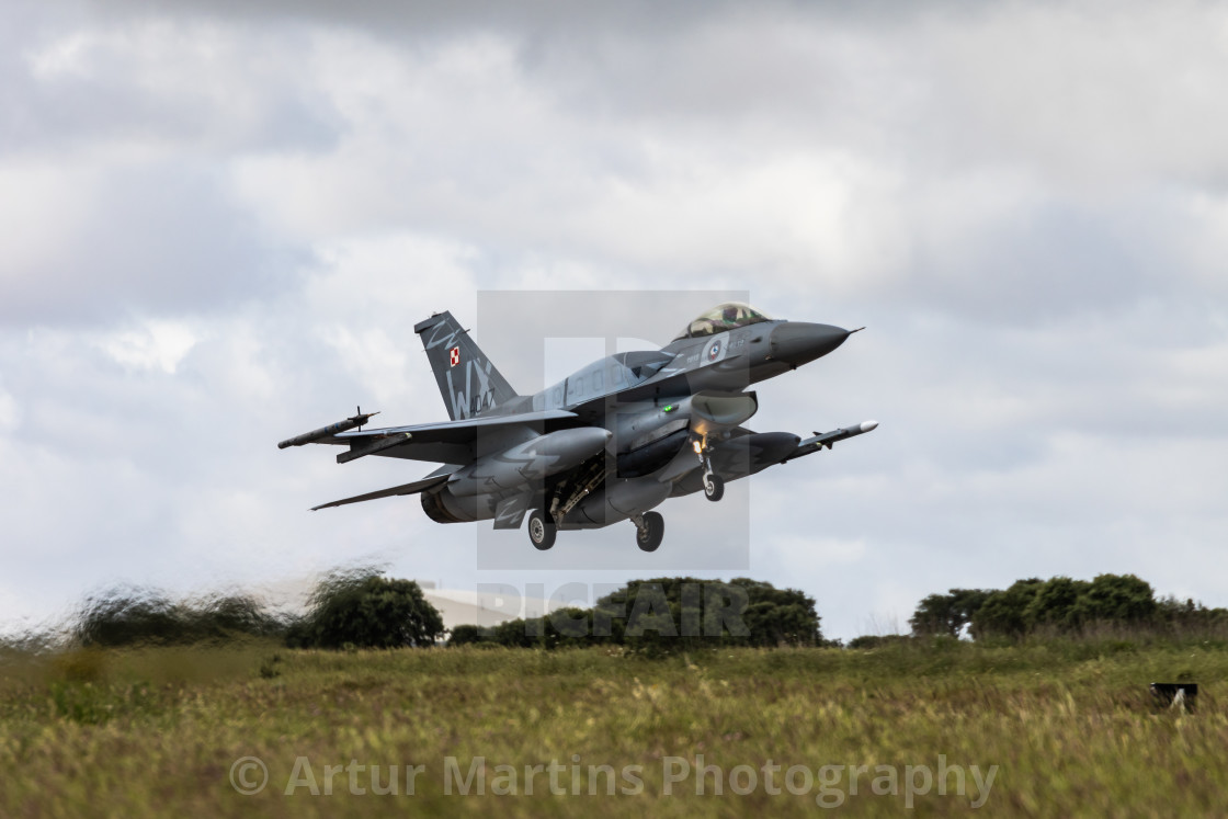"""""""Take-off of a Polish F-16 fighter jet during NATO Tiger Meet 2021"""" stock image"""