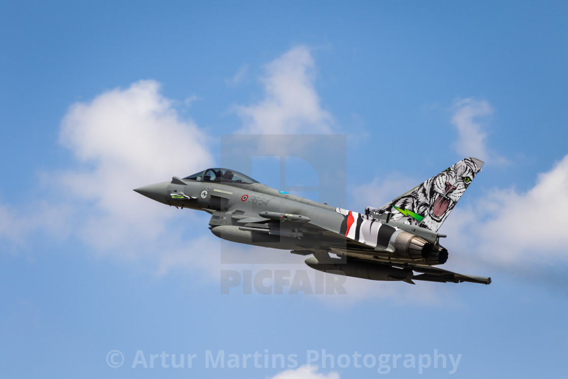 """""""Take-off of an Italian Typhoon fighter jet during NATO Tiger Meet 2021"""" stock image"""