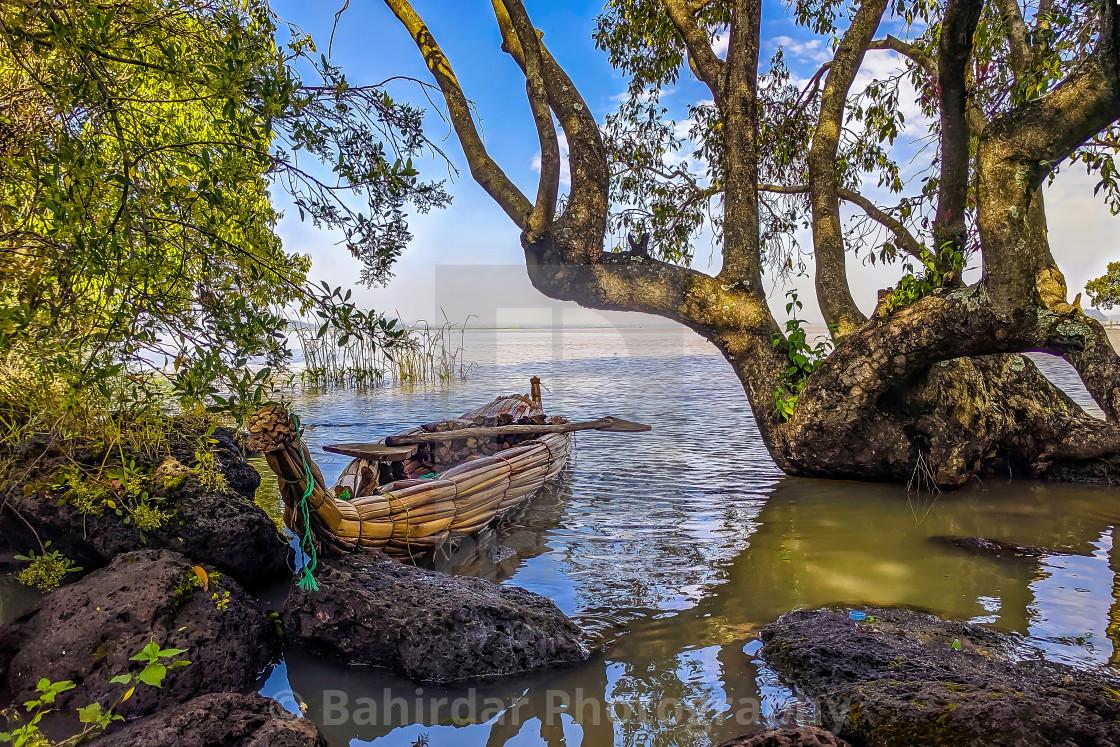 """A 'Tankua' in the shades - Lake Tana, Bahir Dar - Ethiopia"" stock image"