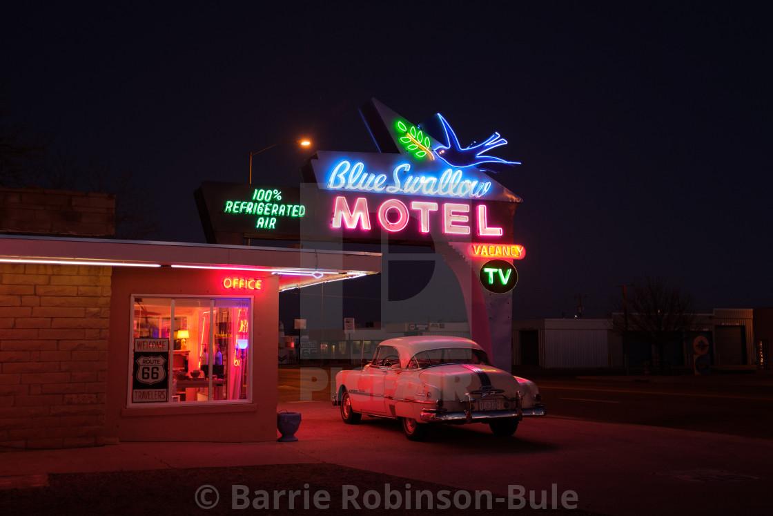 """Blue Swallow Motel at night"" stock image"