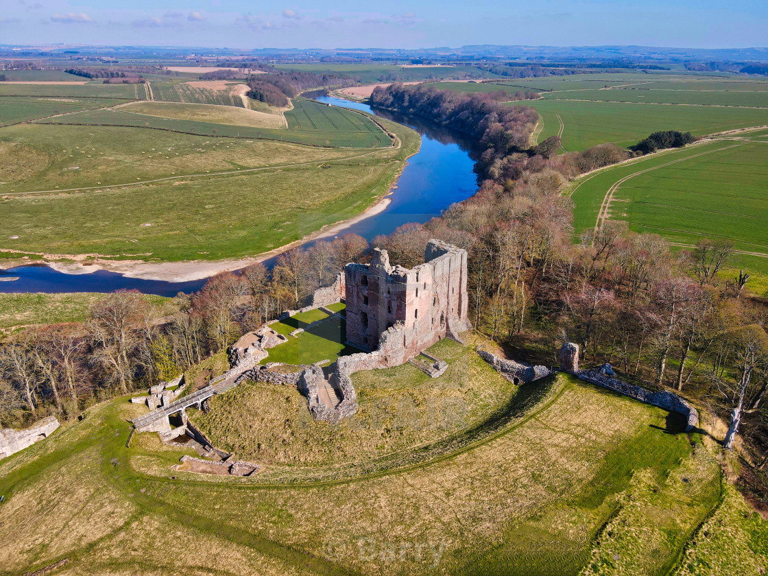 """""""Norham Castle from the air"""" stock image"""