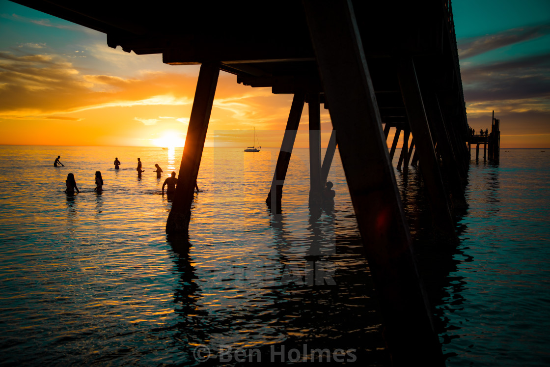 """""""Sunset Under the Jetty"""" stock image"""