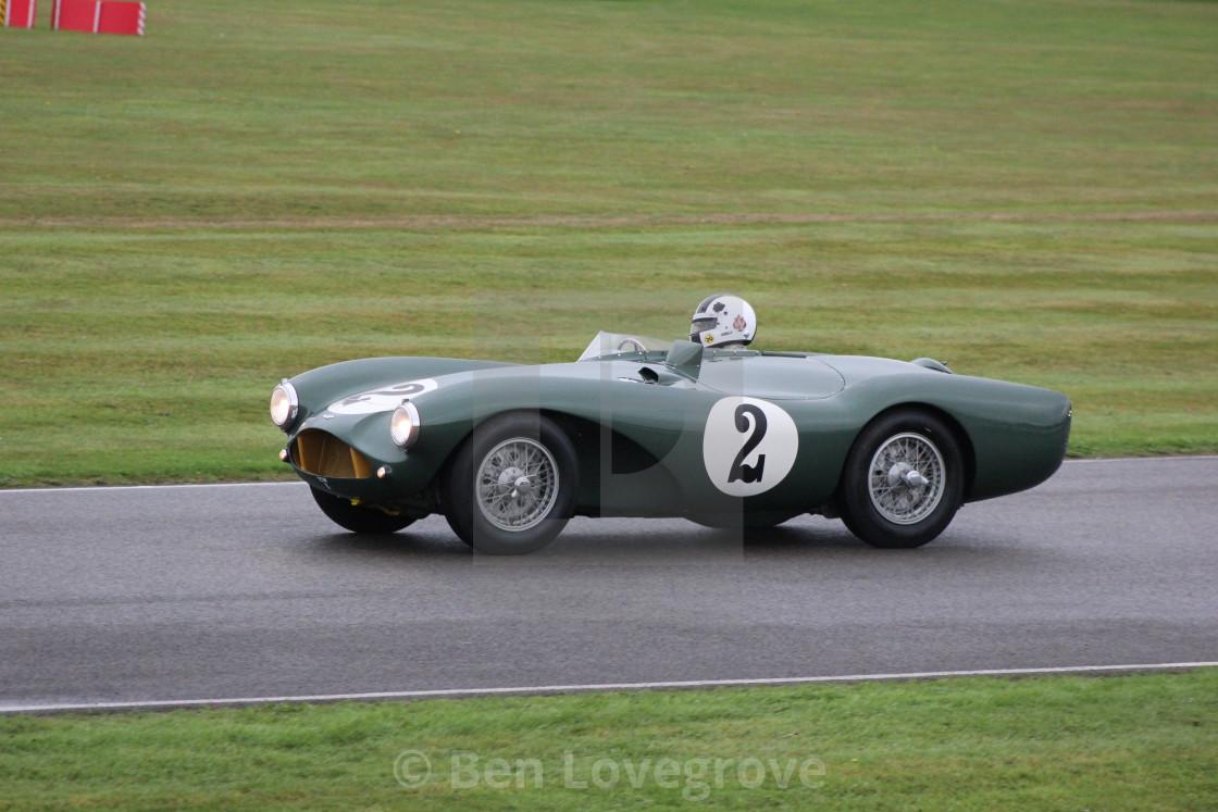 """Classic Car, Madgewick Corner, Goodwood Circuit"" stock image"