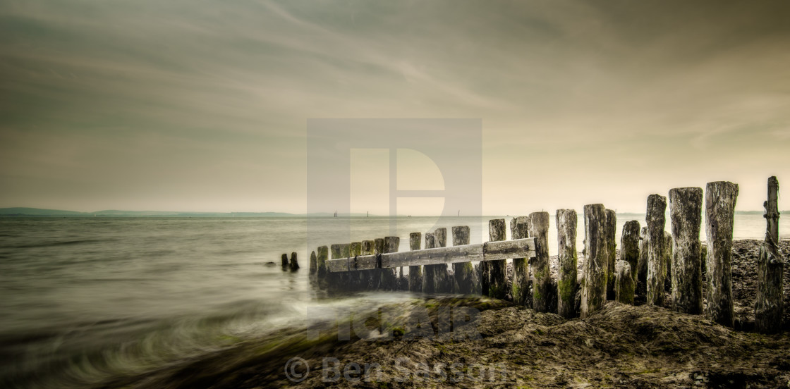 """Groynes at Lepe Beach, UK"" stock image"