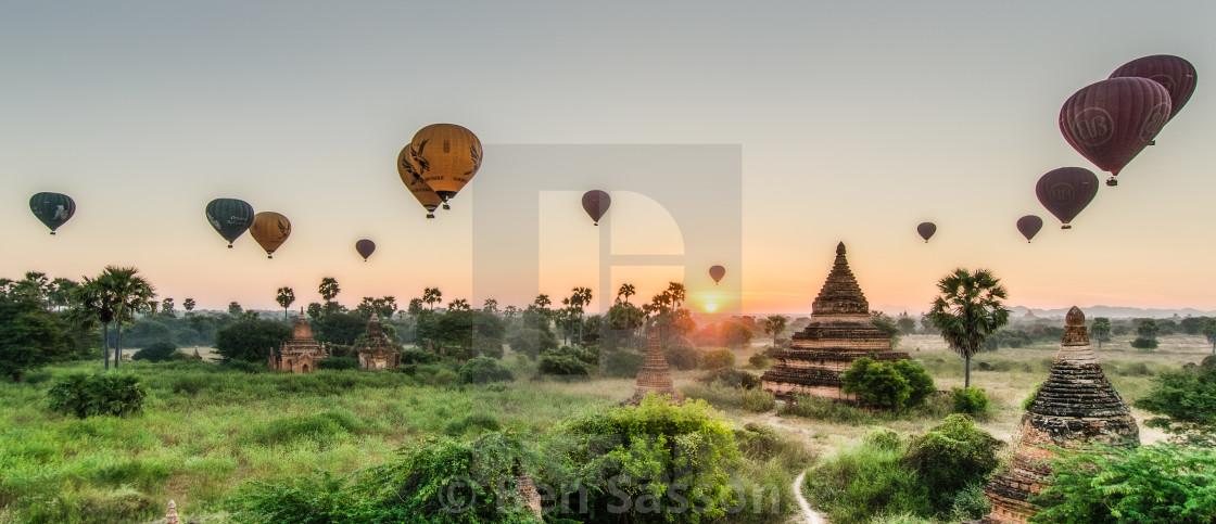 Sunrise and hot air balloons over Bagan, Myanmar