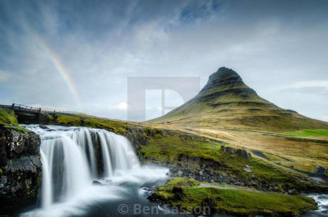 Rainbow over Kirkjufell and Kirkjufoss, Iceland